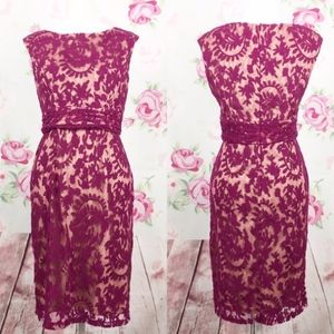Formal Dress: Magenta Lace with Nude Lining